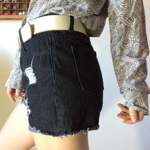 Urban Outfitters Shorts - Black Distressed Shortie Denim Shorts